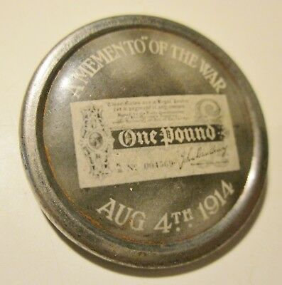 "Rare ""A Memento Of The War August 4, 1914"" Pin Back Button British Start Of WWI"