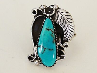 Vintage Antique Native American Navajo Turquoise Sterling Silver Ring