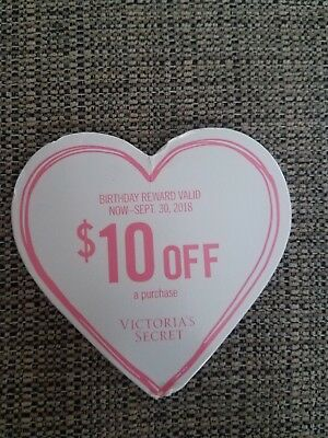 765d29a472d8a 1 VICTORIA SECRET $10 off a purchase exp 9/30/18 coupon/gift card