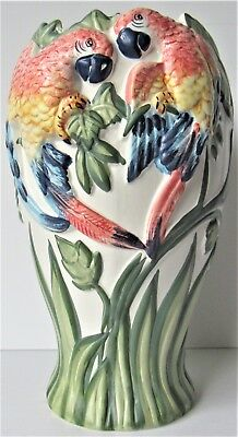 """Beautiful Large 12"""" Ceramic Macaw Parrot Vase Portugal Hand Painted"""