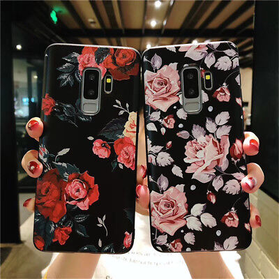 For Samsung S9 S8 Note 9 Flower Pattern Cute Soft TPU Silicone Phone Case Cover
