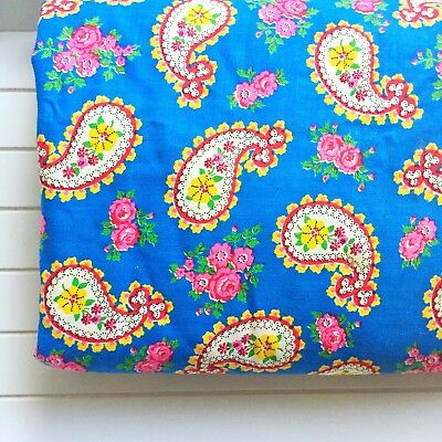 Vintage Paisley Roses on Blue Cotton Fabric 4 Yards X 44""