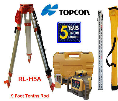 Topcon RL-H5A Alkaline Rotary Laser Level PLUS 9 FT Tenths/Height Rod & Tripod