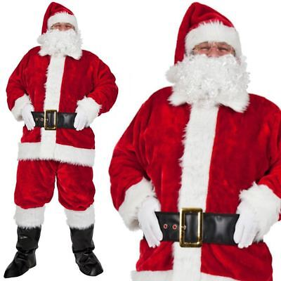 Mens 8 Piece Deluxe Luxury Santa Claus Father Christmas Suit Fancy Dress Costume