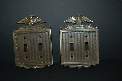 A Pair Of VINTAGE AMERICANA EAGLE Brass Double Light Switch Cover Plate