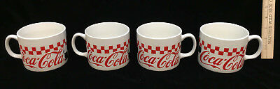 Coca Cola Coffee Cup Mugs Soup Bowls Checkered Set 4 Gibson Housewares Ceramic