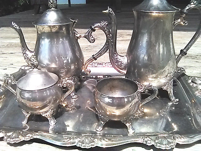 Vintage Coffee/Tea, Sugar, Creamer, Tray, 6 piece Sterling sp scrap or not
