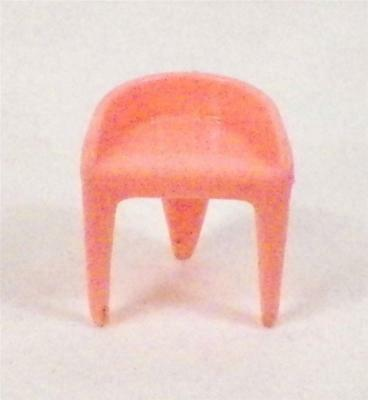 Vintage Dollhouse Miniature Chair for Dressing Table Plasco Pink Hard Plastic