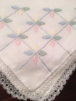 5 Vintage MADEIRA Linen Case Boudoir/BABY Pillow Case Cover Hand Embroidered