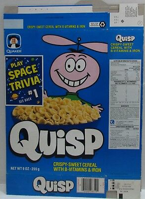 Quisp Cereal Box 1995 Space Trivia on Back