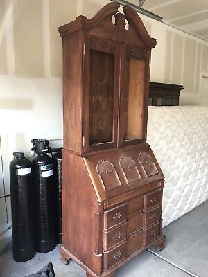 Vintage Mahogany Breakfront Chippendale-Style Secretary with Hutch