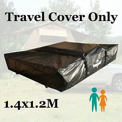 Black Rooftop Roof Top Tent 1.4x1.2M Travel Cover Camper Trailer 4X4 Camping