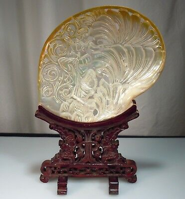 Vintage Thai Carved Mother of Pearl Shell on Wood Stand