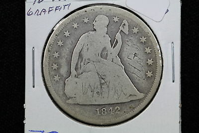 1842 Seated Liberty Dollar AG Graffiti