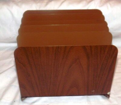 Vintage Heavy Metal Desktop Large File Holder 5 Slots Wood Grain Finish
