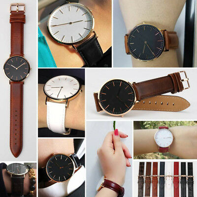 Brown&Black Women Leather Strap for Daniel Wellington Watch Band 18 19 20mm Pins