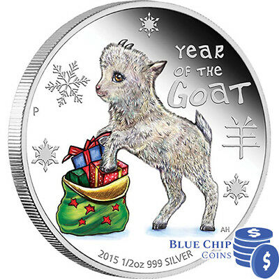 2015 50c Coloured Baby Goat 1/2oz Silver Proof Coin