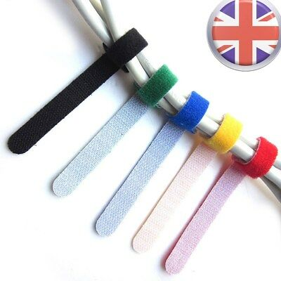 Velcro Sticky Cable Ties Wire Strap Wrap Fastener Self Adhesive Hook Loop Tape W