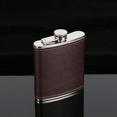 Vodka Whiskey Alcohol Hip Flask Men Faux Leather Wrapped Stainless Steel