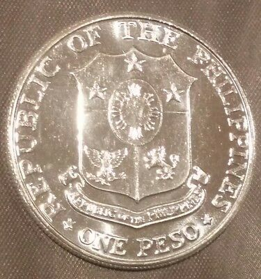 1967 philippines one peso silver 25th anniversary of Bataan coin bu uncirculated