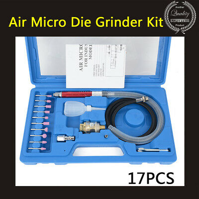 17Pcs Air Micro Die Grinder Kit Mini Pencil Polishing Rotary Cutting Tool w/Case