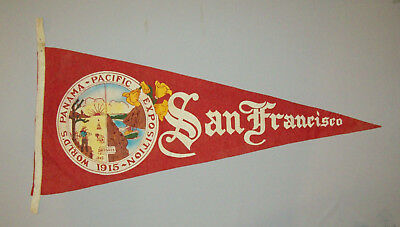 Rare Antique Vtg 1915 Panama Pacific Exposition Expo Full Size Felt Pennant WF