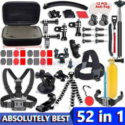 Chest Head Mount Monopod Kit Bundle Accessories For GoPro 2 3 4 5 6 Camera 52in1