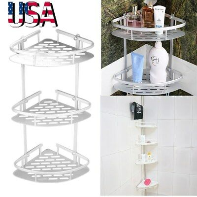 2/3/4 Tier Shower Corner Pole Caddy Shelf Rack Bathroom Bath Storage Organizer