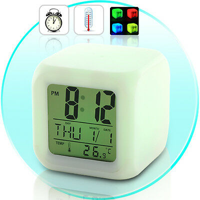 Glowing LED with 7 Color Changing Digital Alarm Clock + Thermometer + Calendar