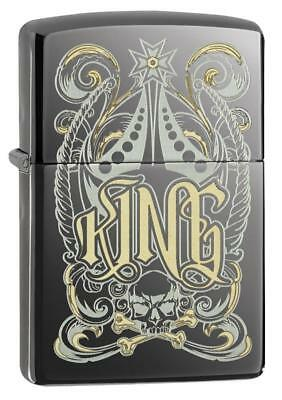 Zippo King With Skull And Crossbones Black Ice 28798