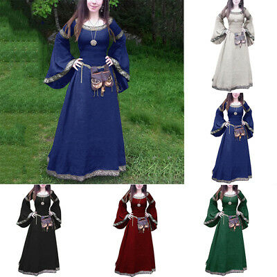 Women Vintage Medieval Gothic Long Sleeve Ball Gown Renaissance Maxi Long Dress