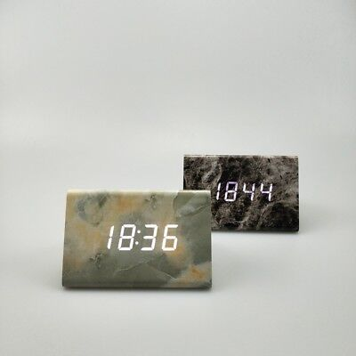 Green Alarm Clock Black Modern Multi-Function Cube Digital Table Marble Bedside