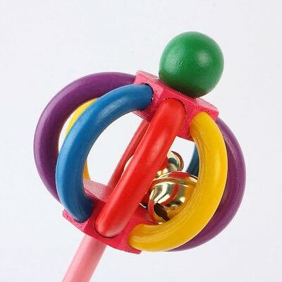 Cute Baby Infant Wooden Musical Rattle Jingle Hand Bell Ring  Instrument Toy