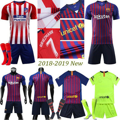 2018/19 Messi Jersey Soccer Kid Boy 3-14Y Short Sleeve Kit Football Suit Outfits