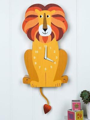 NEW Rex London Wooden Childrens Wall Clock - Charlie The Lion