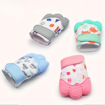 Baby Silicone Mitts Teething Mitten Glove Candy Wrapper Sound Teether Toy Gift