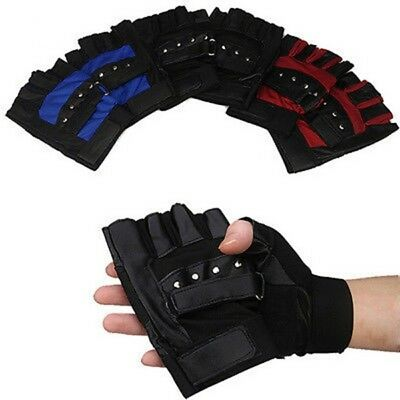 Outdoor Sport Cycling Bicycle Bike Driving Leather Half Finger Fingerless Gloves