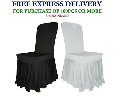 SKIRT CHAIR COVERS Pleated Spandex Slipcovers Removable Venue Decor Best Price