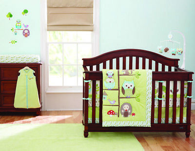 New Baby Girls Boys 8 Pieces Cotton Nursery Bedding Crib Cot Sets-- Owl Family