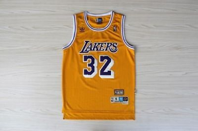 Magic Johnson NO.32 Los Angeles Lakers Yellow Throwback Classic Vintage Jersey