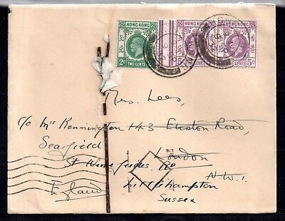 Hong Kong KGV 1912 Redirected cover to UK WS10251