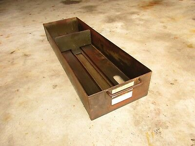 "Vintage Steel Metal Drawer w/ Sliding File Divider 24.5"" Long X 7.5"" Wide"