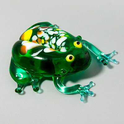 Frog. Figurine Blown Glass Russian Murano Handmade Art Miniature Décor Gift