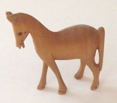 Estate Vintage Handmade Wood Miniature Horse 2 inches high  stands alone well