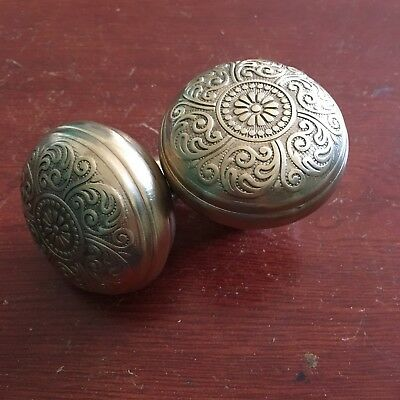 Antique Pair Of Brass  Door Knobs - Victorian Eastlake Corbin Cairo