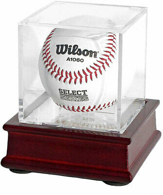 Topstage Pro Uv Baseball Display Case Stand With Cube Wooden Stand