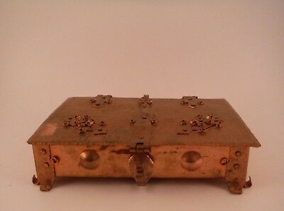 Arts & Crafts Hinged Lid Hand Hammered Copper Jewelry Trinket Box