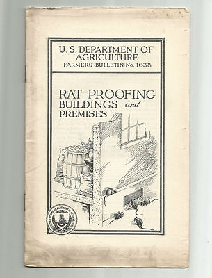 Rat Proofing Buildings and Premises 1936 USDA Farmers Bulletin No. 1638 Farms