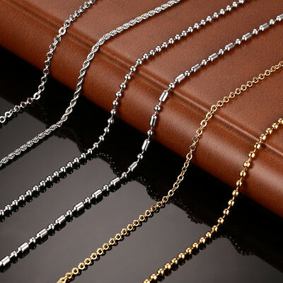 Necklace Chain Stainless Steel Women Men Jewelry Snake Round Beads for Pendant