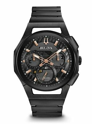 New Bulova Men's Curv 98A207 Chronograph 44mm Stainless Steel Watch